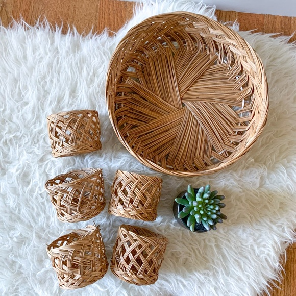 Vintage Boho Wicker Basket Tray and Cups - 6 Piece Set